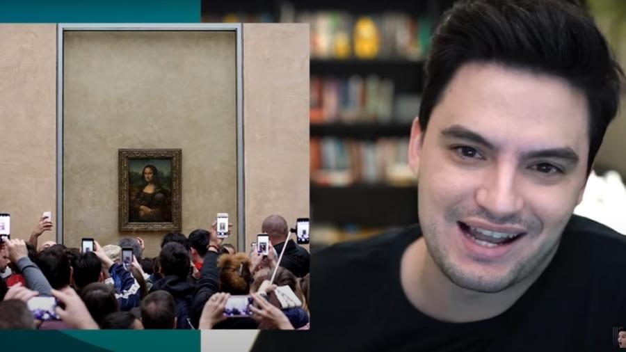 Felipe Neto falando sobre o quadro Monalisa - Reprodução YouTube