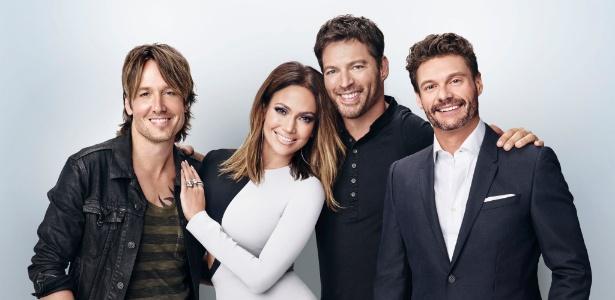 """Keith Urban, Jennifer Lopez, Harry Connick Jr. e Ryan Seacrest estão na última temporada do """"American Idol"""" - Divulgação"""