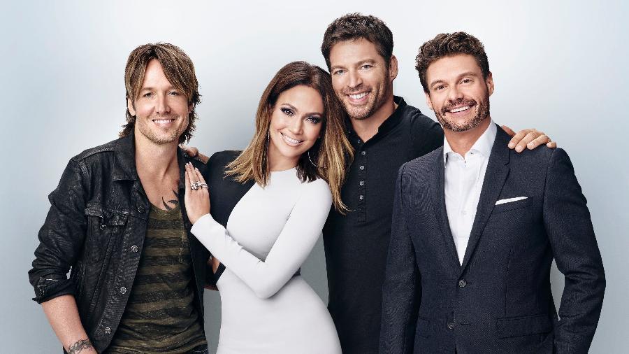 """Keith Urban, Jennifer Lopez, Harry Connick Jr. e Ryan Seacrest na última temporada do """"American Idol"""" - Divulgação"""