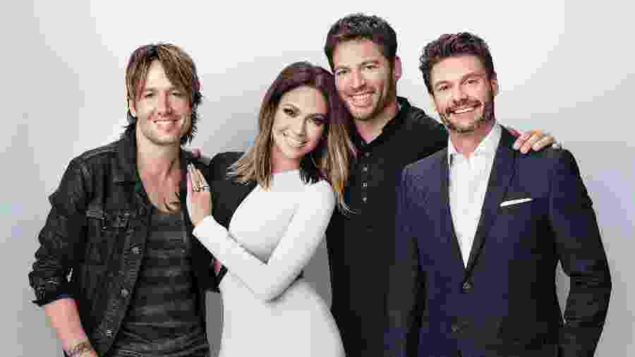 "Keith Urban, Jennifer Lopez, Harry Connick Jr. e Ryan Seacrest na última temporada do ""American Idol"" - Divulgação"