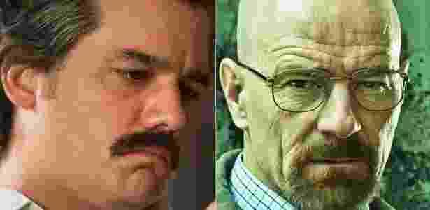 "Montagem com Wagner Moura em ""Narcos"" e Bryan Cranston em ""Breaking Bad"" - Montagem/UOL"
