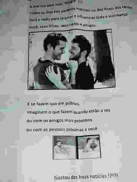 Panfletos com texto homofóbico foram jogados pela rua onde João Pedro vai morar - Arquivo pessoal - Arquivo pessoal