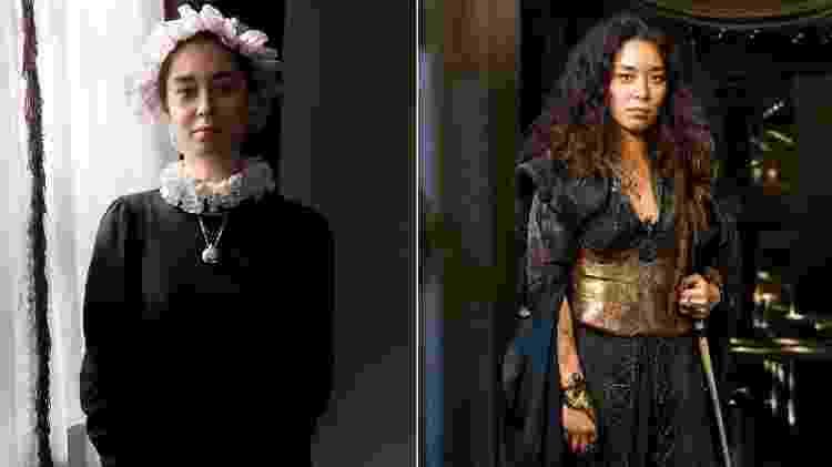 """Miss Liu (Luana Tanaka) como babá e como pirata em """"Novo Mundo"""" - Divulgação/TV Globo - Divulgação/TV Globo"""