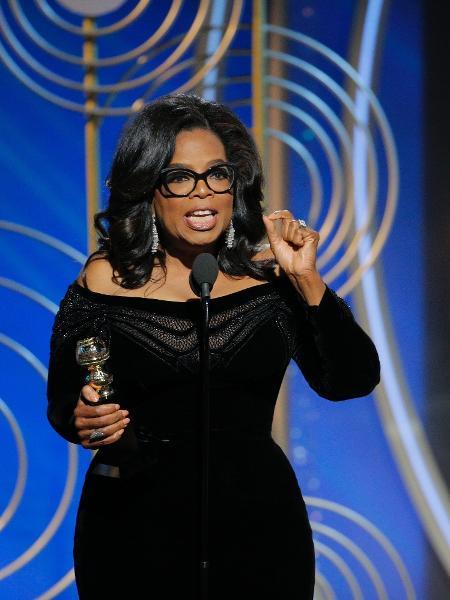 No Globo de Ouro, a apresentadora Oprah Winfrey recebe o prêmio especial Cecil B. DeMille pelo conjunto de sua carreira - Getty Images