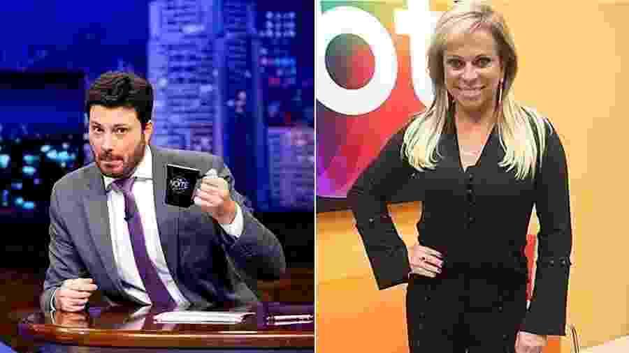 """ibope dos apresentadores Danilo Gentili e Christina Rocha, do SBT, deixou o """"patrão"""" feliz - Montagem UOL"""