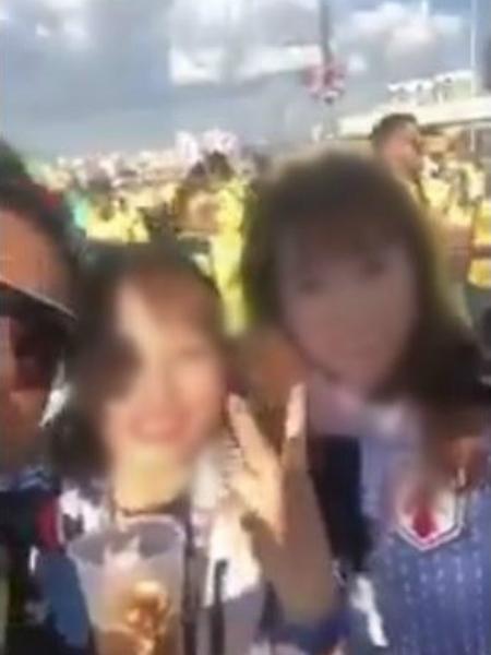 Torcedor colombiano gravando vídeo machista com torcedoras japonesas - Twitter