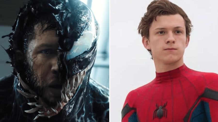 Venom (Tom Hardy) e Homem-Aranha (Tom Holland) - Reprodução/Montagem
