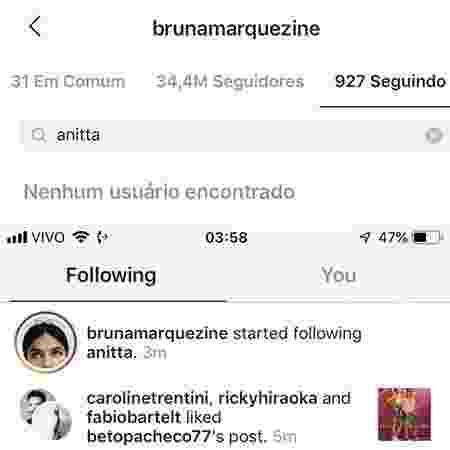 Bruna Marquezine parou de seguir Anitta - Reprodução/Instagram - Reprodução/Instagram