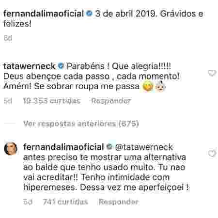 Fernanda Lima e Tatá Werneck - Reprodução/Instagram - Reprodução/Instagram