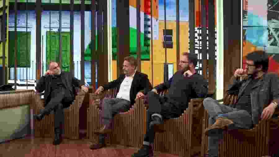 Karim Aïnouz, Kleber Mendonça Filho, Juliano Dornelles e Rodrigo Teixeira (esq. para dir.) no Conversa com Bial - Divulgação/TV Globo