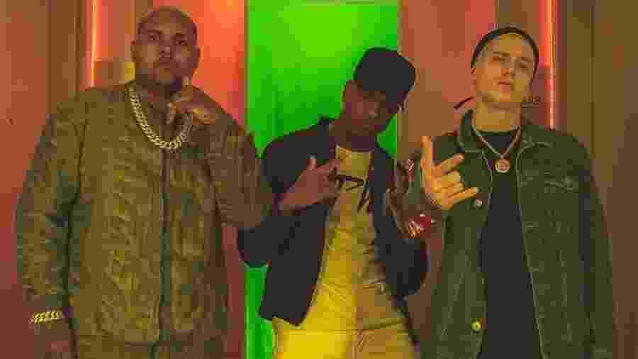 Kevin O Chris, DJ Pedro Henrique e PK no clipe de Sacanagenzinha - Reprodução/Instagram/kondzilla