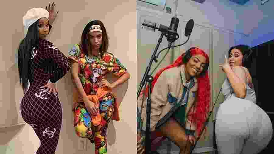 Cardi B em estúdio com Anitta, em Los Angeles, e com Ludmilla, em Nova York - Reprodução/Instagram e Renata Meirelles/Divulgação