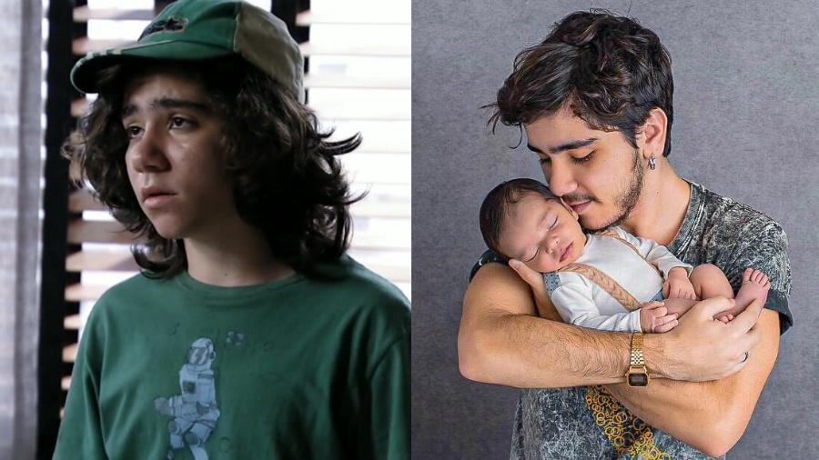 O ator João Fernandes em Avenida Brasil (2012) e atualmente, com o filho - Reprodução/Globo/Divulgação/Montagem UOL