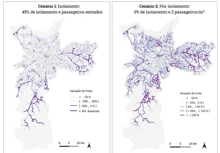 Simulações de operação para o transporte público em São Paulo durante e pós-pandemia feita pela Rede Pesquisa Solidária - Divulgação/Rede Pesquisa Solidária - Divulgação/Rede Pesquisa Solidária
