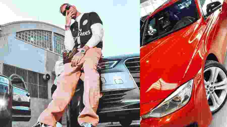 Gui Araújo (à esq.) e o seu novo carro, uma BMW 320i vermelha - Montagem UOL/Fotos Reprodução Instagram