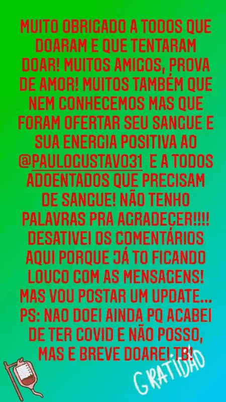 Thales Bretas, marido de Paulo Gustavo agradeceu as doações de sangue ao ator - Reprodução/Instagram - Reprodução/Instagram
