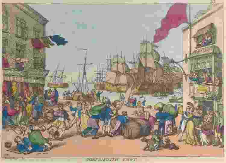 Portsmouth Point, lugar de pubs na cidade britânica. Gravura de Thomas Rowlandson, de 1814 - Heritage Images via Getty Images - Heritage Images via Getty Images