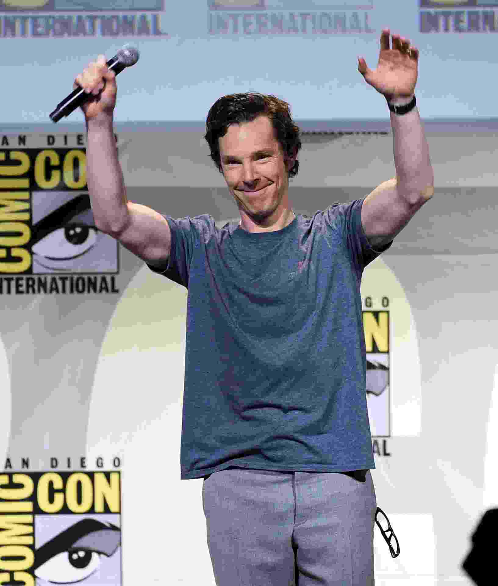 "23.jul.2016 - Benedict Cumberbatch no painel de ""Doutro Estranho"" na San Diego Comic-Con - Kevin Winter/Getty Images/AFP"