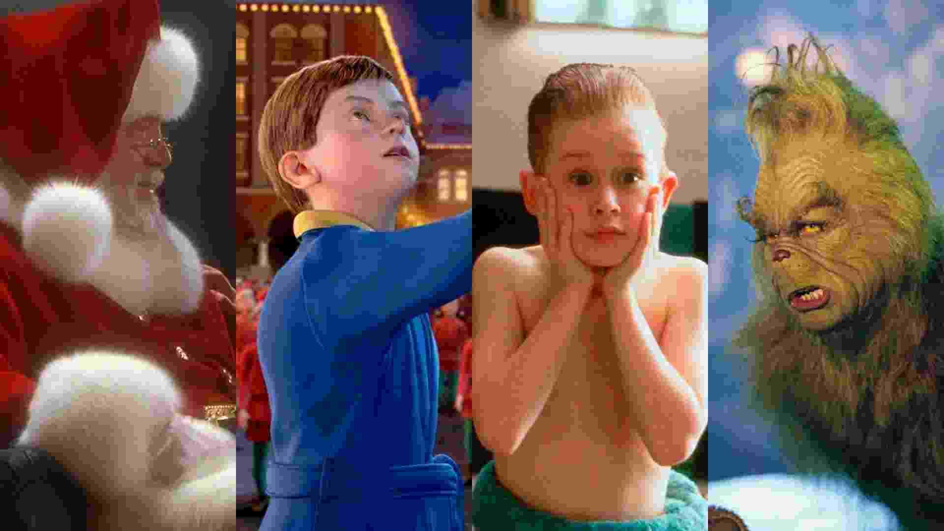 """Cena dos filmes """"Milagre na Rua 34"""" (1994), de Les Mayfield, """"O Expresso Polar"""" (2004), de Robert Zemeckis, """"Esqueceram de Mim"""" (1990), de Chris Columbus e """"O Grinch"""" (2000), de Ron Howard - Reprodução/Montagem"""