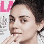 """A mesma revista já tinha colocado Mila Kunis sem maquiagem na capa da edição de agosto. A atriz, de 33 anos, aparece apenas com um sérum, creme para os olhos e um hidratante labial. """"Eu não uso maquiagem. Eu não lavo o cabelo todos os dias. Não é algo que eu associo a mim mesma"""", afirmou na edição. - Reprodução"""