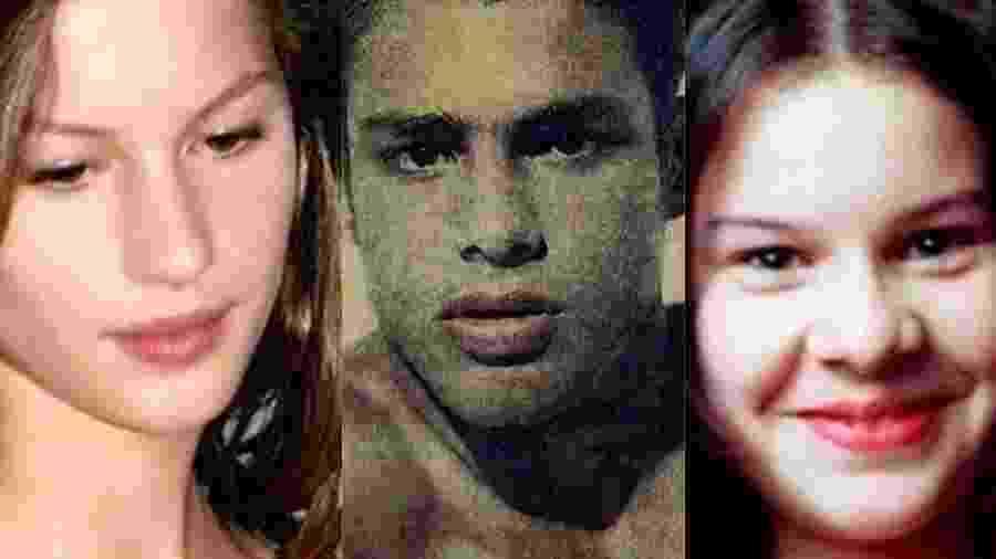 Gisele Bundchen, Cauã Reymond e Fernanda Souza no início da carreira - Montagem/UOL