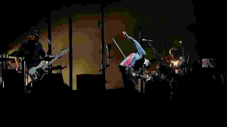 Os integrantes da banda Sigur Ros com o baterista Orri Páll Dyrason (dir.) - Mark Metcalfe/Getty Images