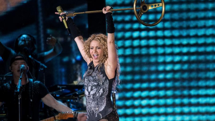 """Shakira durante show da turnê """"El Dorado"""" - Getty Images"""