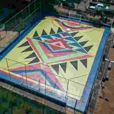 Chão da quadra criado pela artista Criola - Divulgação
