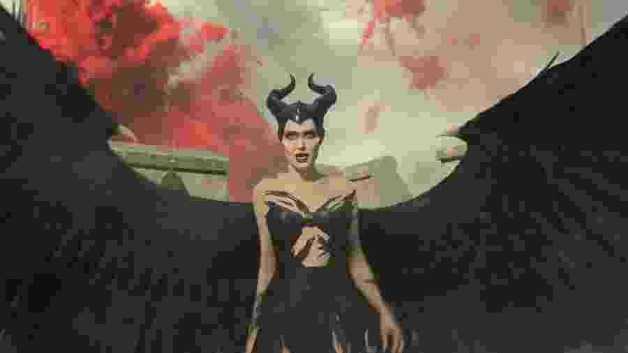Angelina Jolie no filme Malévola: Dona do Mal - Reprodução/Disney