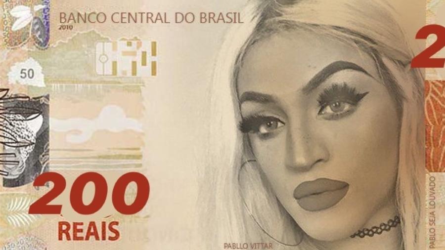 Pabllo Vittar estampa uma das notas de R$ 200 que viraram meme nas redes - Reprodução