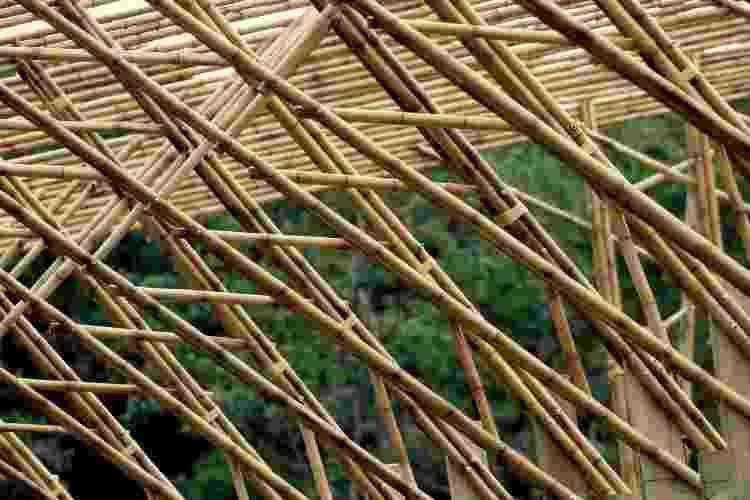 Detalhe do bambu do Pavilhão das Oficinas do Ekôa Park - Lúcio Ventania - Lúcio Ventania