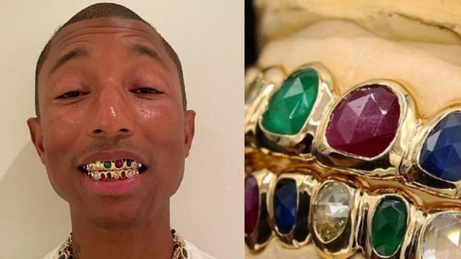Pharrell Williams exibe joia para os dentes avaliada em mais de R$ 500 mil - Reprodução/Instagram