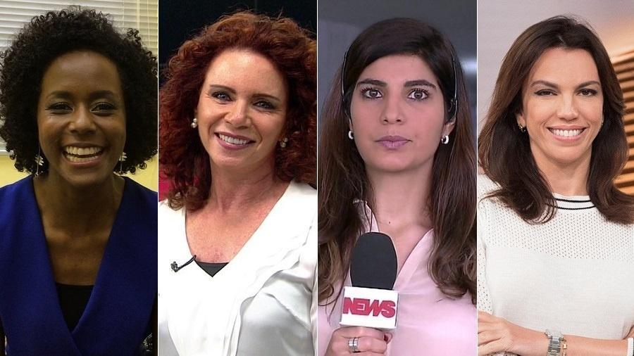 """Maju Coutinho, Leilane Neubarth, Andreia Sadi e Ana Paula Araújo apresentarão o """"Saia Justa"""" em janeiro - Montagem/UOL"""