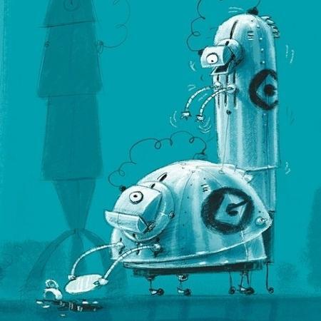 Conceito para criação dos Minions, que poderia ter sido robôs - Designer de personagem de Eric Guillon/Reprodução Vanity Fair