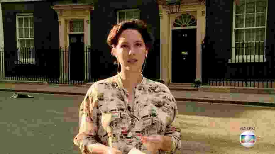 """Gato rouba a cena durante transmissão ao vivo da repórter Cecília Malan para o """"Jornal Hoje"""", em Londres - Reprodução/TV Globo"""