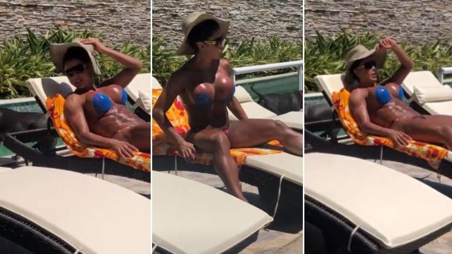 Gracyanne Barbosa toma sol com biquíni de fita adesiva - Reprodução/Instagram