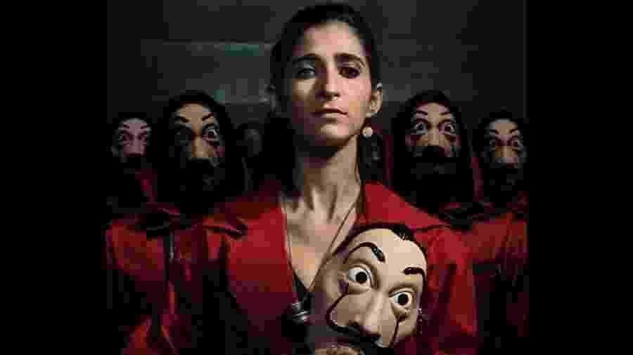 Nairobi, personagem de Alba Flores, em pôster da parte 3 de La Casa de Papel - Divulgação