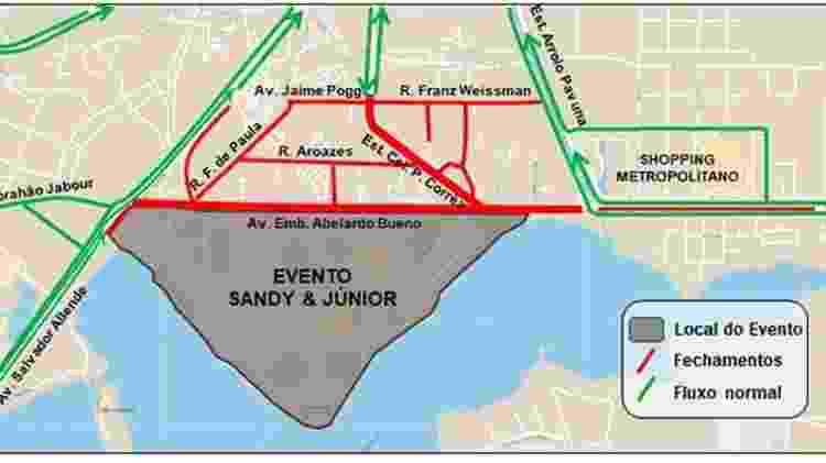 Mapa com as vias de acesso ao show de Sandy & Junior no Rio de Janeiro - Divulgação