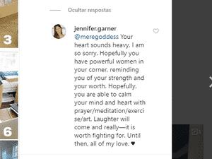 Jennifer Garner respondeu o comentário de uma seguidora em desabafo - Reprodução / Instagram - Reprodução / Instagram