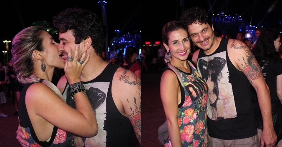 20.set.2019 - O ex-BBB Rafael Oliveira, da 12ª edição do programa, beija a mulher, a carioca Roberta Pevidor, com quem sem casou em janeiro, ao som de Magic!
