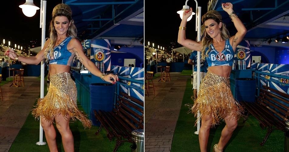 13.fev.2016 - Mirella Santos samba em camarote na Sapucaí. Ela e o marido, o humorista Wellington Muniz, foram ao sambódromo para acompanhar o desfile das campeãs do Carnaval do Rio