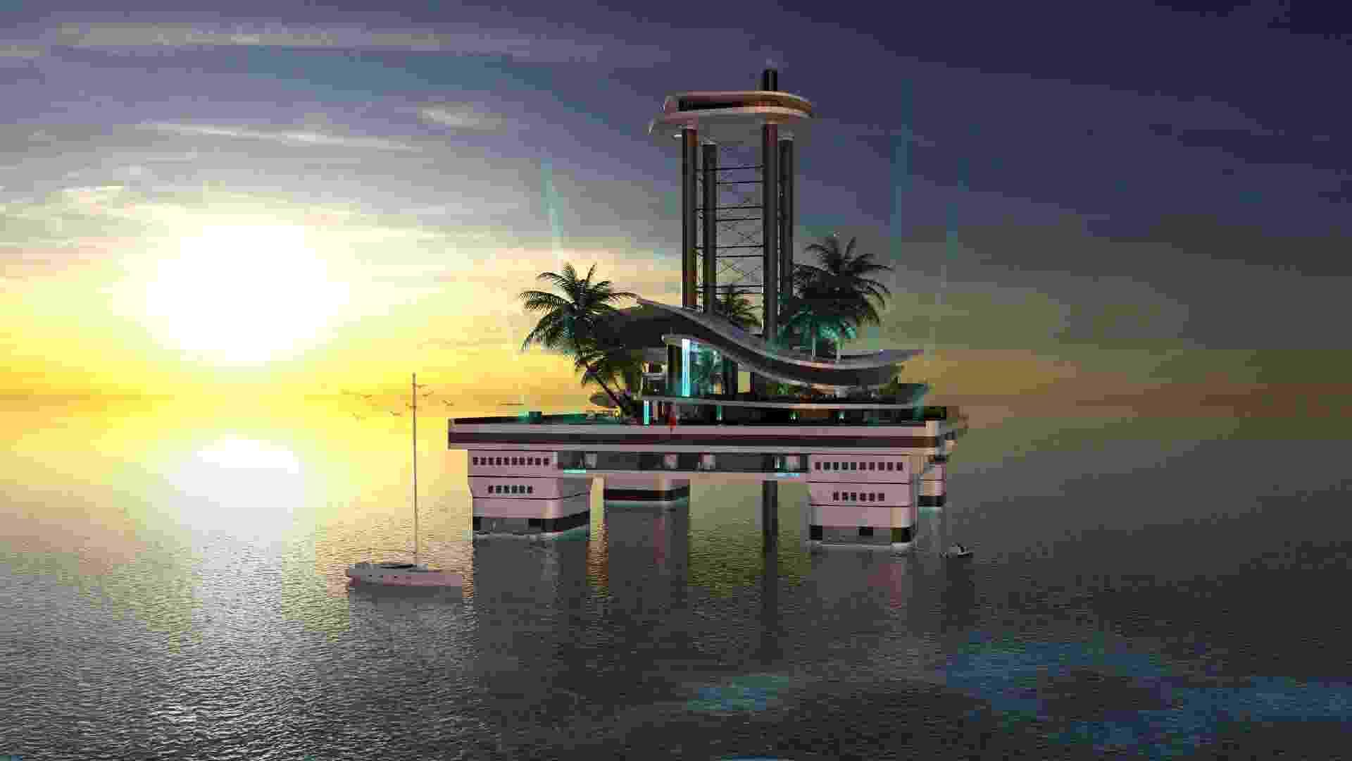As acomodações da cobertura são dos donos da ilha e contam com dois elevadores privados. Nos demais andares, há quatro suítes vips e seis suítes para convidados, além dos decks da tripulação e de manutenção - Divulgação