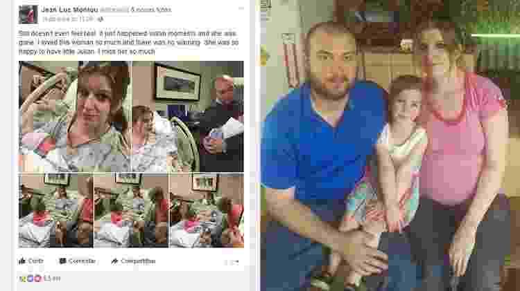 O post de Jean Luc e a foto da família reunida - Reprodução/Facebook - Reprodução/Facebook