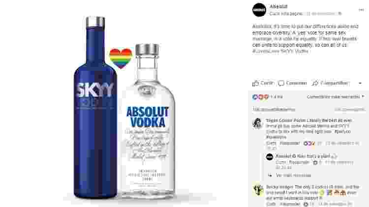 """Marcas de vodca se unem pelo """"sim"""" em votação que decide o casamento de pessoas do mesmo sexo na Austrália - Reprodução/Facebook - Reprodução/Facebook"""