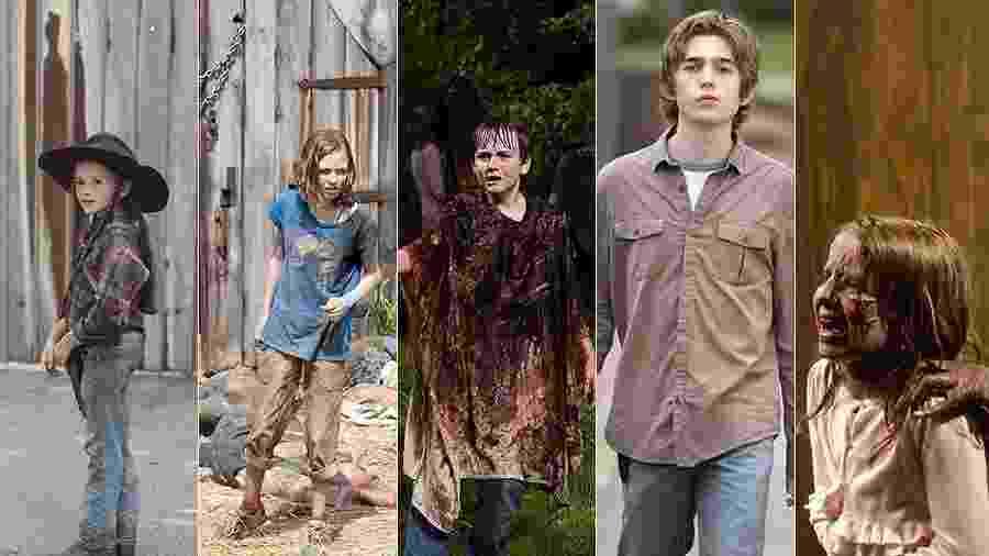 """As crianças de """"The Walking Dead"""" - Divulgação"""