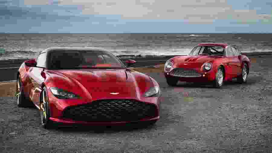 Aston Martin DBS GT Zagato ao lado do Aston Martin DB4 GT Zagato Continuation - Divulgação