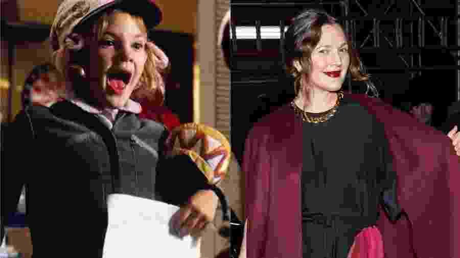 """Drew Barrymore em """"E.T.: O Extraterrestre"""" (1982) e hoje em dia - Montagem UOL/Fotos IMDb e Getty Images"""