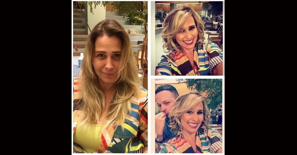 """31.jul.2015 - Andréia Sorvetão aproveitou a véspera de seu aniversário de 42 anos, nesta sexta-feira, para transformar o visual. Em sua conta no Instagram, a ex-paquita mostrou que os cabelos agora estão mais curtos. """"Antes e depois da pessoa (risos). Tô feliz! Presentão de niver"""", escreveu ela, na legenda da imagem"""