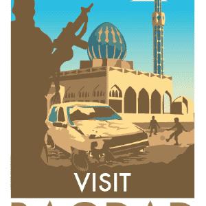 Bagdá não é exatamente um destino turístico nos dias de hoje, mas o artista Monk HF quis retratar a situação de caos em que vive o país árabe desde a invasão norte-americana, em 2003 - Divulgação/Monk HF