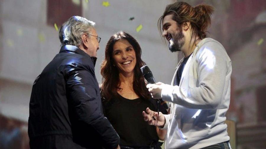 """Caetano Veloso, Ivete Sangalo e Luan Santana juntos nos ensaios para o programa """"Canta, Luan"""", no Multishow - Reprodução/Multishow"""